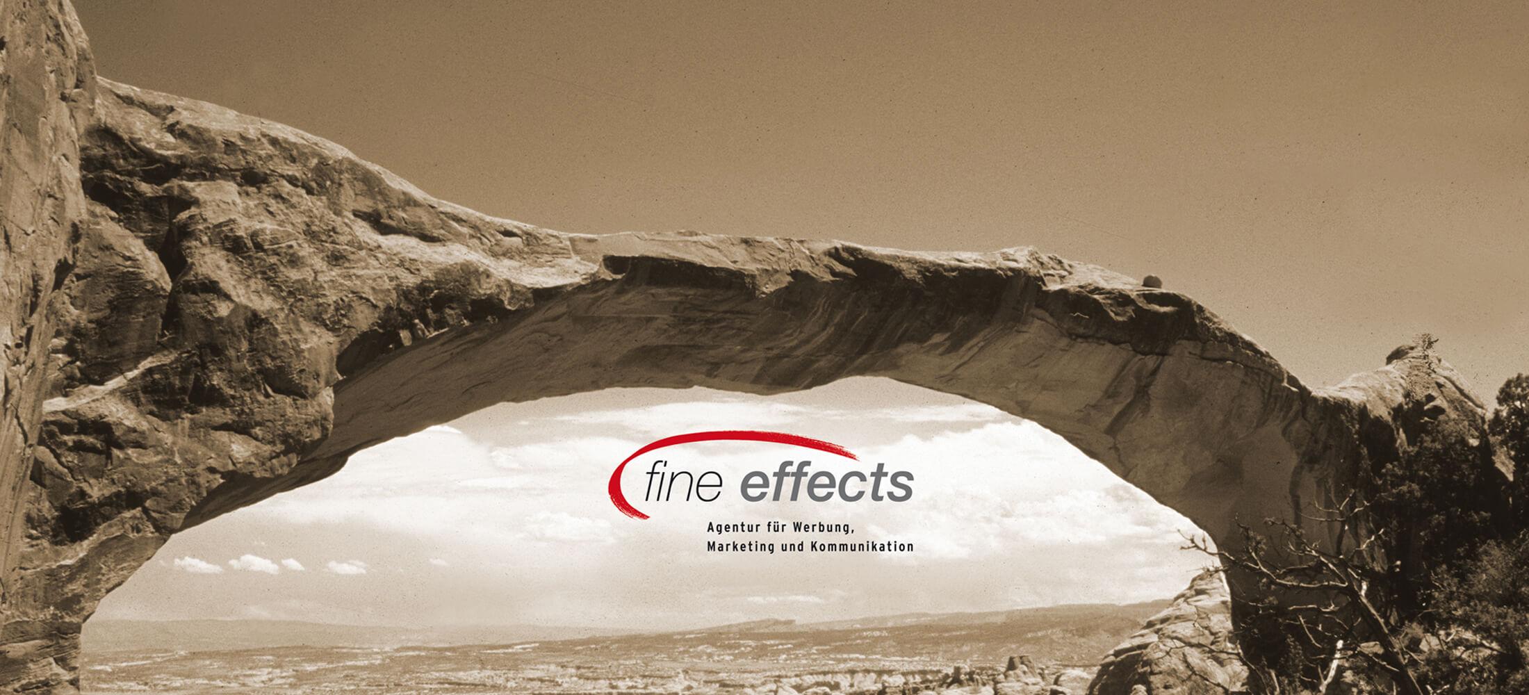 Spannungsbogen mit Logo fine effects und eingeblendeter Schrift