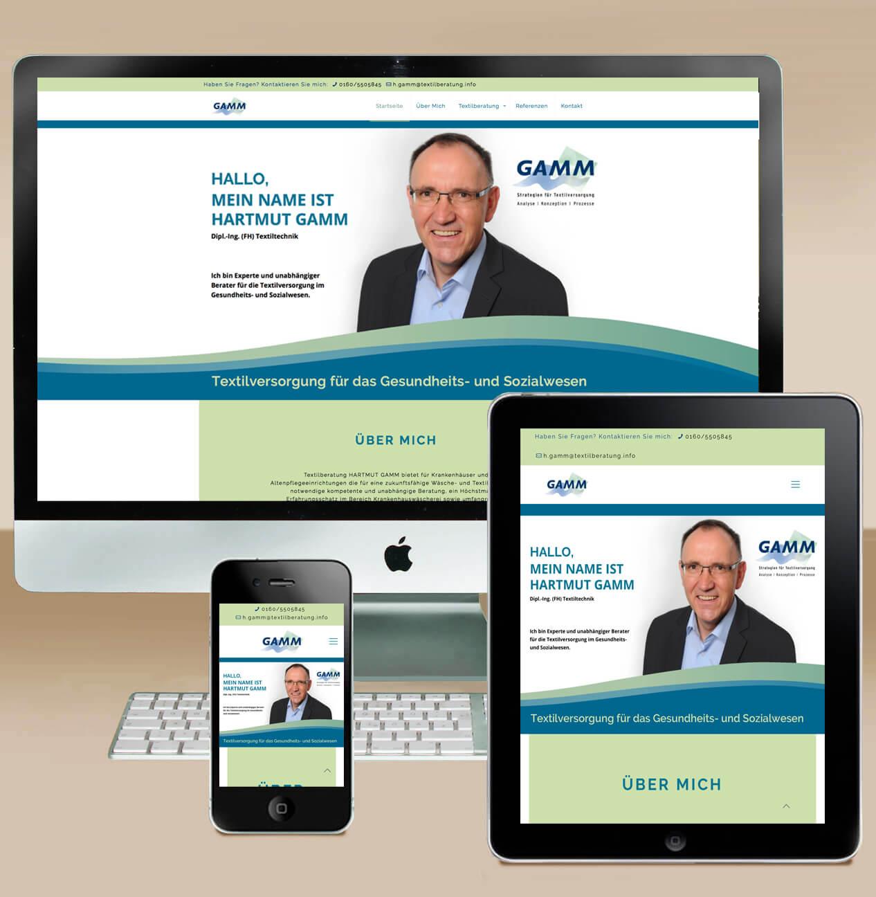 Internet/Webdesign - Responsives Webdesign farbig veranschaulicht am Beispiel Fa. Gamm - https://gamm.pro