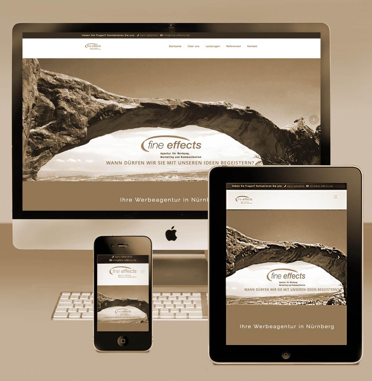 Internet/Webdesign - Responsives Webdesign veranschaulicht am Beispiel fine effects bei Smartphone, Tablet, Rechner