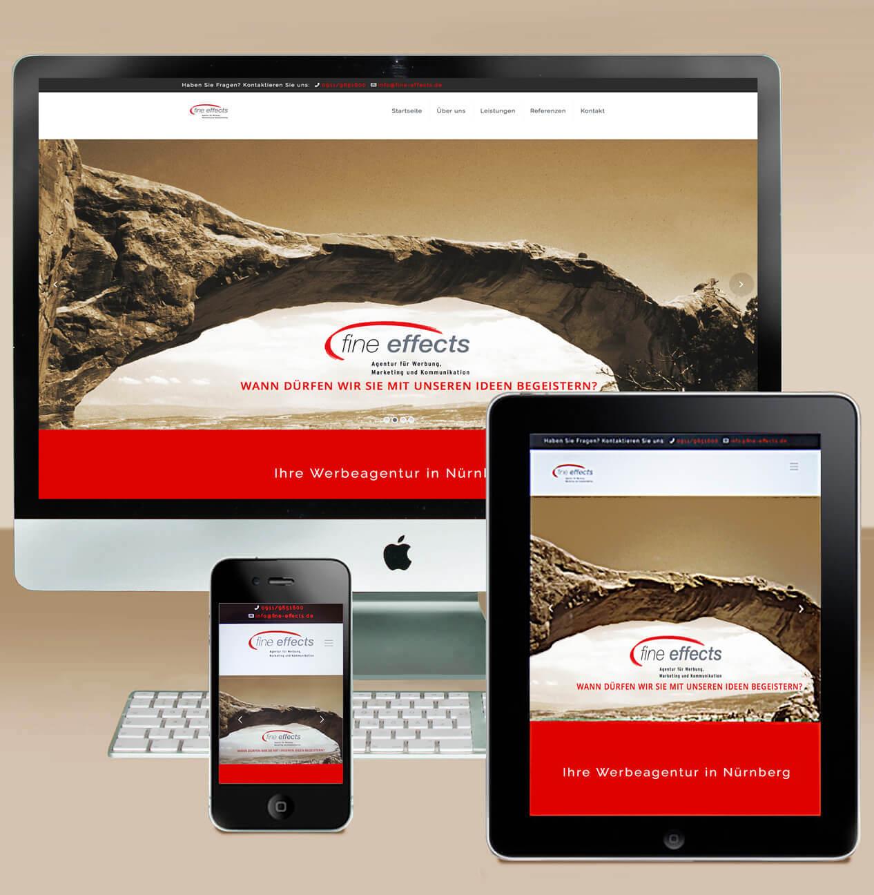 Internet/Webdesign - Responsives Webdesign farbig veranschaulicht am Beispiel fine effects bei Smartphone, Tablet, Rechner